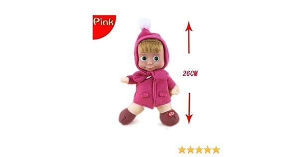 Xuniu algodón Invierno Masha Felpa muñeca de Juguete, Peluche de Peluche de Juguete para niños niñas Rosa 26cm