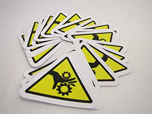 25 Pinch Point - Identification Safety Stickers | Triangular Pinch Point Safety Decals