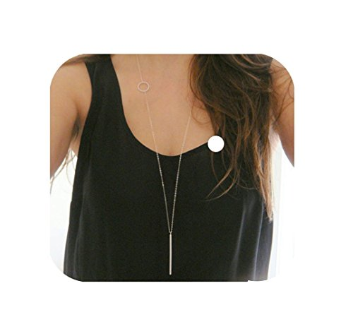 - MingYu Y Layer Simple Bar Pendant Necklace Center Long Lariat Chain For Women Jewelry (silver)