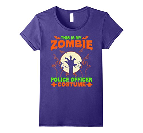 Zombie Police Costume Womens (Womens This Is My Zombie Police officer Costume T-Shirt Large Purple)