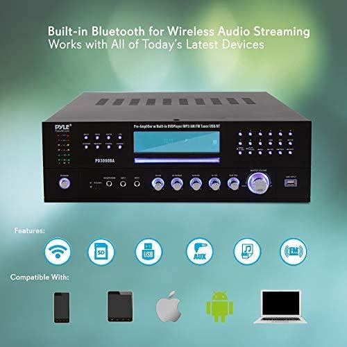 4 Channel Wireless Bluetooth Amplifier – 3000 Watt Stereo Speaker Home Audio Receiver w/ FM Radio, USB, 2 Microphone w/ Echo for Karaoke, Front Loading CD DVD Player, LED, Rack Mount – Pyle PD3000BA 41YGsCTu9FL
