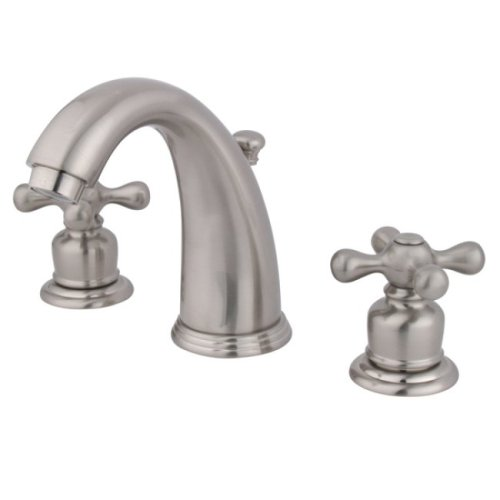 Kingston Brass KB988AX Victorian Widespread Lavatory Faucet with Metal cross handle, Satin Nickel Satin Nickel Adjustable Spread