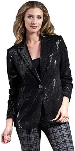 Women's Black Stripe Sequin Blazer Jacket Size 2