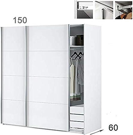 HABITMOBEL Armario Dormitorio Blanco 200 Puertas correderas, Fondo Especial DE 60cm (Cajonera incluida): Amazon.es: Hogar