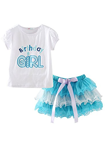 Girl's Birthday Top With Tutu Skirt Sets Outfit Tiered Skirt Layered Dress (3-4T, Blue) - Top Layered Skirt