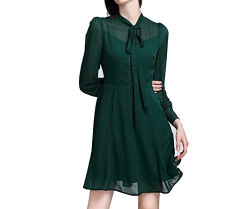 Gasa De Las Mujeres Vestido De Flores De Encaje Green