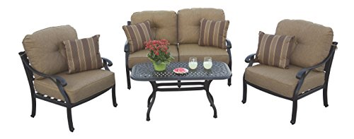 Darlee A/DL603-4PC-60B Nassau 4-Piece Deep Seating Outdoor-and-Patio-coversation-Sets, Antique Bronze