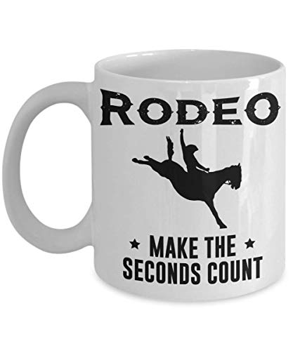PixiDoodle Western Cowboy and Cowgirl Bronc Riding Rodeo Coffee Mug (11 oz, White)