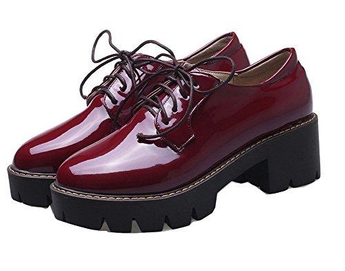 lacets verni en Claret cuir à femme en Chaussures pour chaton VogueZone009 Escarpins H07nqwFXO