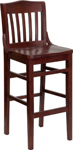 School House Counter Height Stool - Flash Furniture Hercules Series Mahogany Finished School House Back Wooden Restaurant Bar Stool
