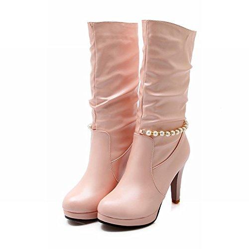 Latasa Moda Donna Con Perline Piattaforma Plissettata Tacco Alto Stivali A Metà Polpaccio Stivali Rosa