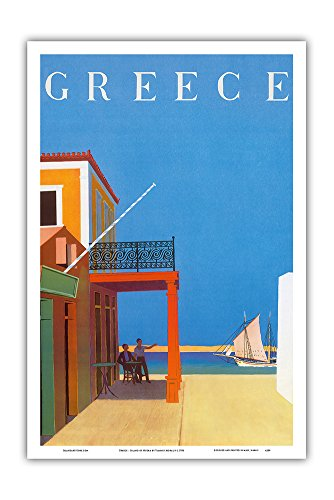 Costume Design In Greek Theatre (Greece - Island of Hydra - Vintage World Travel Poster by Yiannis Moralis c.1956 - Master Art Print - 12in x 18in)
