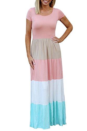 Party YMING Dress Sleeve Retro Vintage Women Swing Patchwork Dress Herburn Short WR1wYrRq