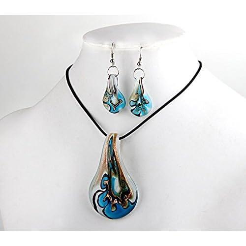 Ecloud Shop Collier Boucles d'oreilles Blue Leaf Murano perles Murano FASHION