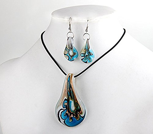 Lampwork Leaf - Ecloud Shop Blue Leaf Lampwork Glass Murano Bead Necklace Earrings FASHION