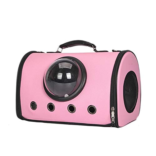 (HYUE Pet Backpack Foldaway Pet Backpack Out Portable Cat Bag Breathable Space Capsule Pet Out Travel Backpack (Color : Pink, Size : 432329cm))