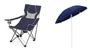 Tiempo de Picnic Camping silla y paraguas parasol–azul marino, juego de 2
