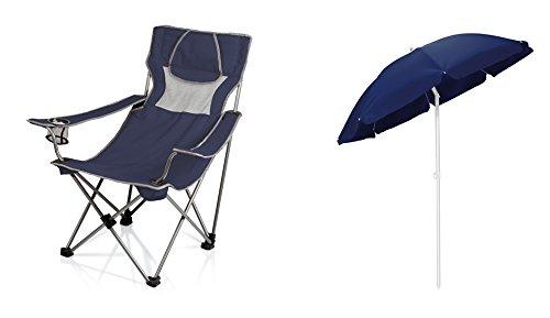 ピクニック時間もOK Chair and Umbrella Sun Canopy – ネイビー、2のセット B06XPSGMDP