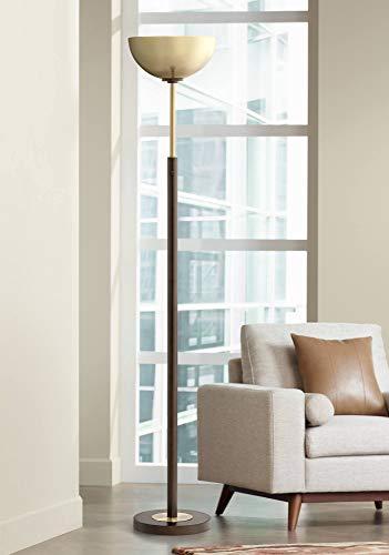 Ornate Metal Base - Toledo Light Blaster Modern Torchiere Floor Lamp Oil Rubbed Bronze and Warm Antique Brass for Living Room Bedroom Office Uplight - Possini Euro Design