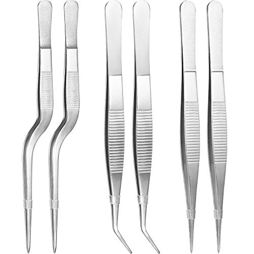 (TecUnite 6 Pieces Tongs Tweezers, Stainless Steel Tongs Tweezer with Cooking Utensils Precision Serrated Tips Beauty)