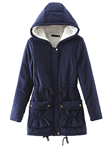 Chartou Women's Lovely Thicken Zip-Fly Hooded Lambswool Fleece Lined Long Jacket Coat Outwear (Large, Navy ()