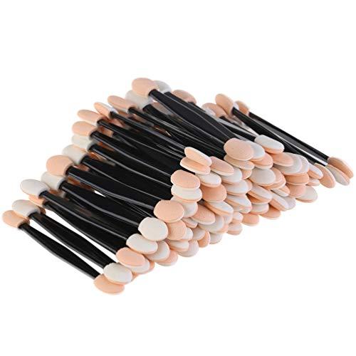 JASSINS 150 Pack Eye Shadow Brush, Disposable Double-Sided Eye Makeup Sponge Applicators (Orange white) ()