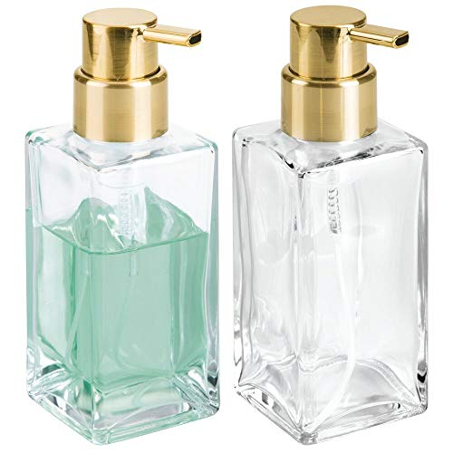 mDesign Modern Square Glass Refillable Foaming Hand Soap Dispenser Pump Bottle for Bathroom Vanities or Kitchen Sink, Countertops - 2 Pack - Clear/Soft Brass ()