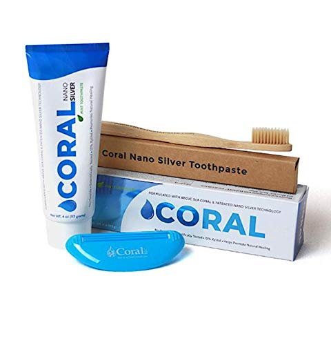 (Coral White Nano Silver Mint Bundle, Natural Fluoride Free Teeth Whitening Toothpaste, Toothpaste Squeezer and Bamboo Toothbrush, Coral Calcium Nano Silver Infused SLS Free - 4 Ounces)