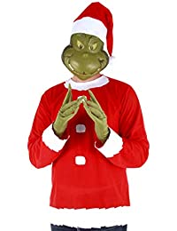 Dr. Seuss Grinch Santa Costume Includes Shirt, Mask and Hat