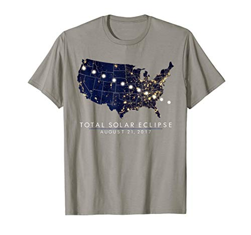 Total Solar Eclipse Map Tshirt of the USA 8/21/2017
