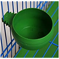 XeibD Bird Feeding Bowl Plastic Round Cup Holder Parrot Pigeon Cage Food Water Feeder Size M-Green