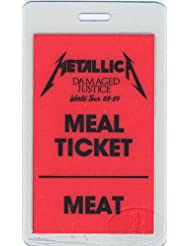 Metallica 1988-89 Tour Laminated Backstage Pass Meal Ticket Meat