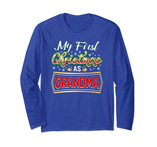 Unisex First Christmas As Grandma Long Sleeve New Grandmother Gift Large Royal Blue