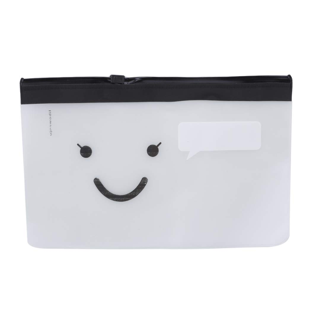 Guoshang PVC Waterproof Clear Pencil Case Makeup Bag Travel Cosmetic Pouch Transparent Travel Toiletry Bag with Zippe (Moustache,Cute Smiley Face)