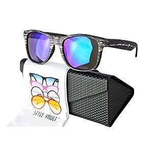 W1000-ec Style Vault 80s wayfarer Wood Print Sunglasses (C028 Dark brown-emerald green mirror, mirrored)