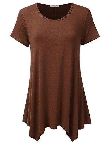 JJ Perfection Women's Short Sleeve Loose Fit Swing Tunic Top T-Shirt HAZELNUT (Brown Maternity Tee)