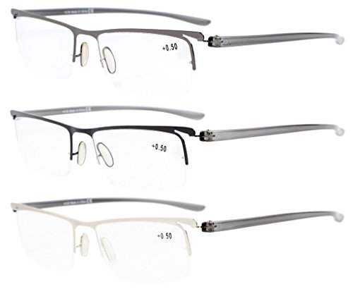 Eyekepper 3-Pack Plastic Temple Lightweight Half-rim Reading Glasses Men Women Mix 2.5