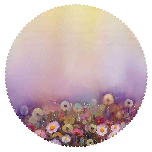 Upscale Round Tablecloth [ Watercolor Flower Home Decor,Bed with Different Blossoms Types Fresh Romantic Garden Paint,Lilac Pink ] Decorative Tablecloth Ideas