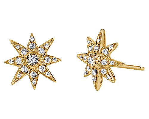 Christmas Sale Round Cut White Cubic Zirconia Starburst Stud Earrings In 18K Yellow Gold Over Sterling Silver ()