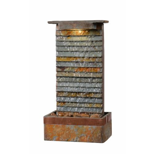 Kenroy Home 51023SLCOP Stave Indoor/Outdoor Table Fountain with Light, 19 Inch Height, Natural Green Slate and Copper Finish