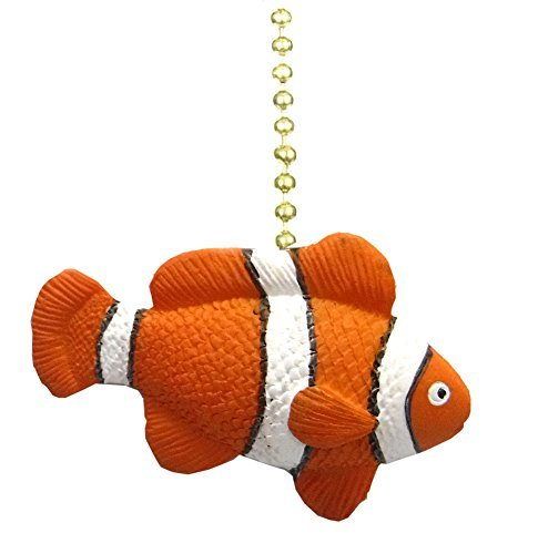 - Clementine Designs Tropical Reef Orange Clown Fish Nemo Ceiling Fan Light Pull