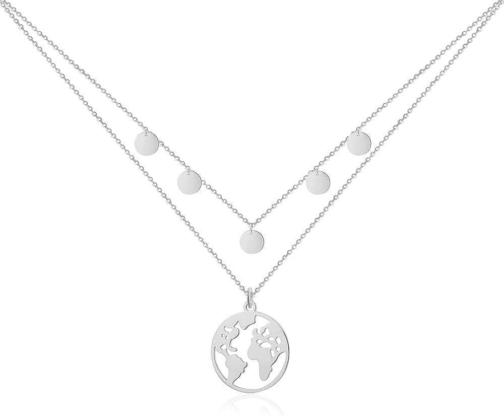 Good.Designs ® Collar de Mujer con Colgante del Globo (40 + 5cm) Cadena con Colgante de Mapa del Mundo