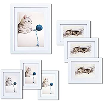 Amazon.com: Gallery Perfect 9 Piece White Wood Photo Frame Wall ...