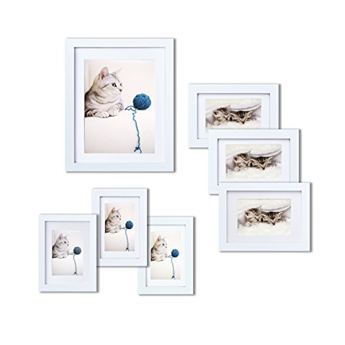 Innocheer Picture Frame Set of 7: Solid Wood, Three 4x6 Inches - Three 5x7 Inches - One 8x10 Inches (Special Gift For Him On Valentine Day)