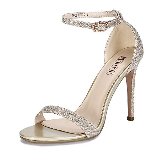 IDIFU Women's IN4 Slim-HI Open Toe Stiletto High Heel Ankle Strap Dress Sandals Party Shoes Gold Glitter 7 M US (Gold Shoes Party)