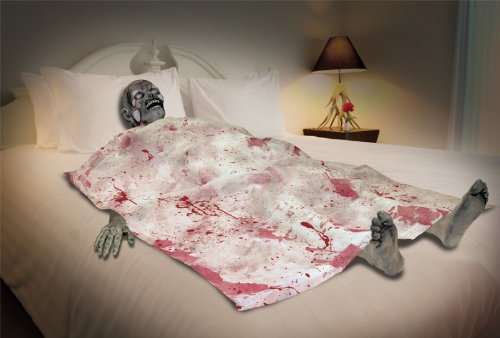 Halloween Prop: Bloody Death Bed Zombie *** Product Description: Perfect For Your Haunted House Scene. Head, Hands, Feet, And Blood Spattered Sheet. -