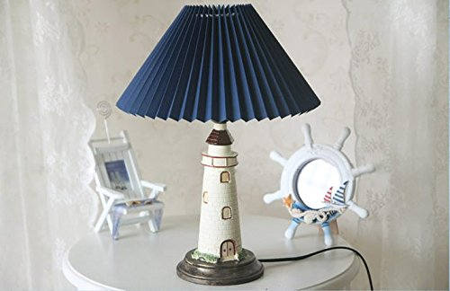 Kiven Nautical Lighthouse Table Lamp Large Cape Hatteras Desk Light with Cloth Shade ()