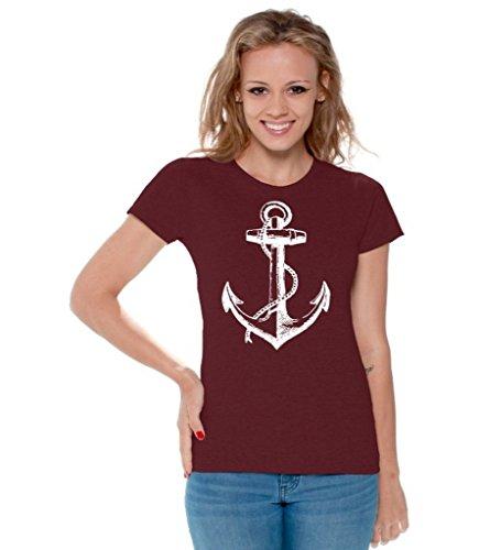 (Awkwardstyles Women's Anchor White T-Shirt Sea Marine Sailor Shirt + Bookmark L Maroon)