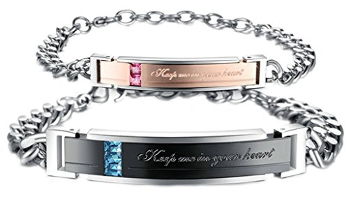 "AmDxD Jewelry Stainless Steel Couple Bracelet Zirconia CZ Love Bracelets ""Keep me in your Heart"""