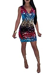Women's V-Neck Spaghetti Straps Sequin Pencil Dress